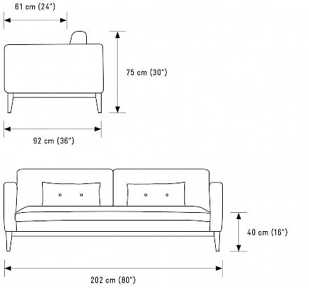 dimension of sofa